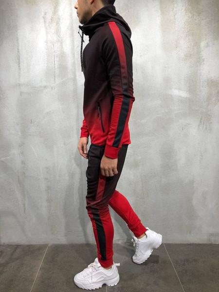 Высокое качество Tops Mens 3D цвета заплатки толстовки с капюшоном Hiphop Street Zipper Спортив фото