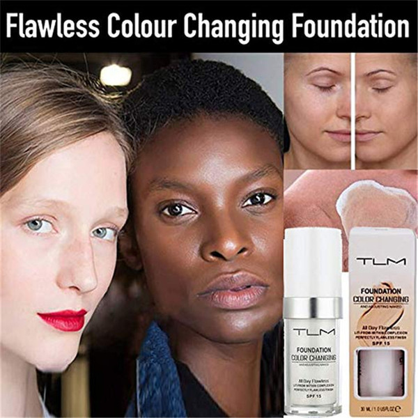 30ml tlm color changing liquid foundation makeup pf 15 heer coverage hydrating face foundation matte fluid concealer cream