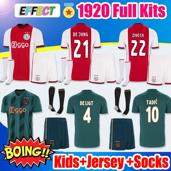 Thailand 19 20 ajax fc kid occer jer ey 2019 2020 boy child nere tadic de jong de ligt dolberg ziyec football kit hirt