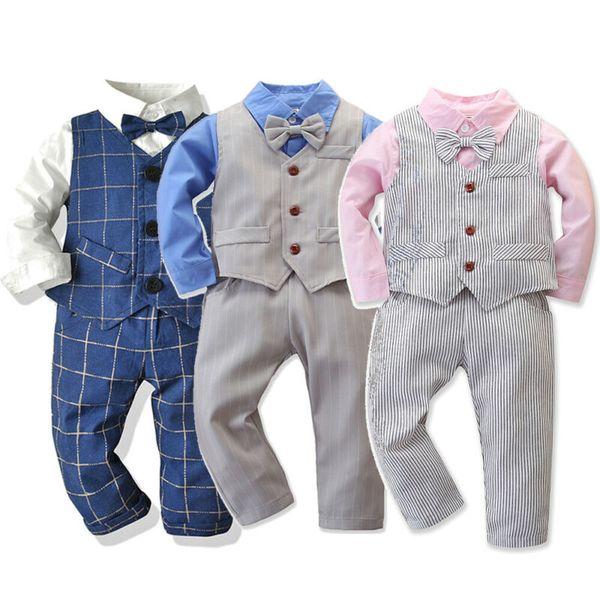 3pcs kids toddler baby boy clothes sets 1-7y tie t-shirt +striped vest+pants gentleman outfits clothes suit 1-7years