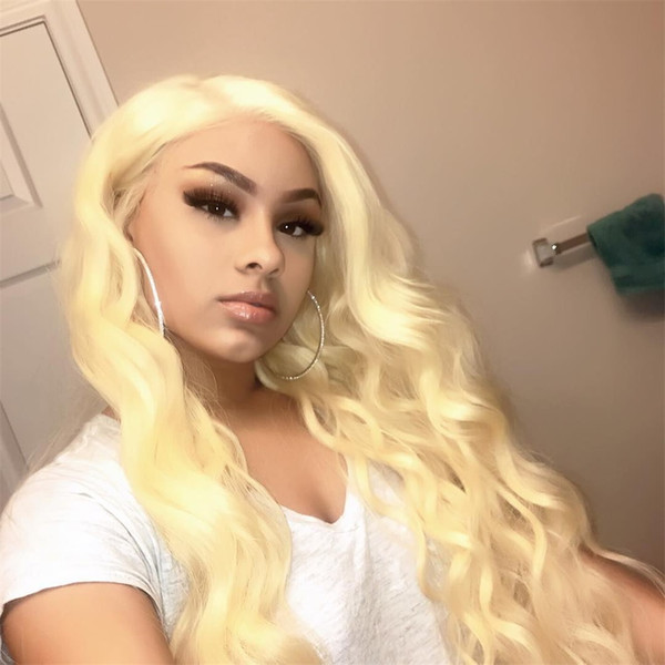 613 blonde full lace wig human hair Brazilian 613# body wave Thick Glueless Lace Front Wigs With Baby Hair