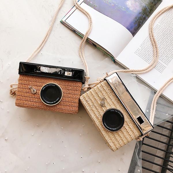 appareil photo personnalisé fashion design forme d'embrayage épaule sac weave paille sacs avslappnad mini messenger bag purse (510949617) photo