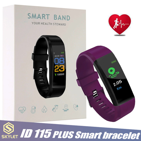 Id115 plu   mart bracelet fitne   tracker  mart watch heart rate watchband  mart wri tband for apple android cellphone  with box