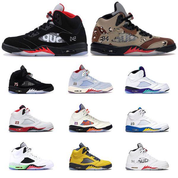 2020 Hot мужская баскетбольная обувь AirРетроДжордан 5 черный белый Пустынный камуфл