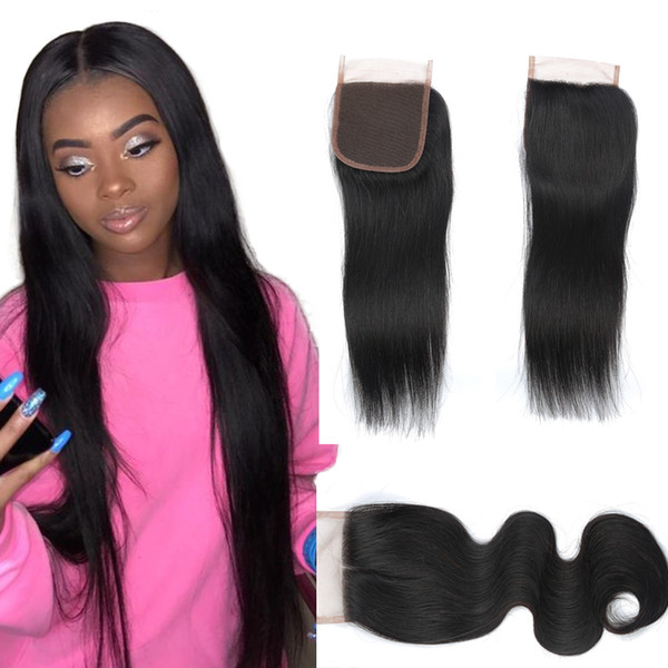 Whole ale brazilian traight hair lace clo ure 4 4 natural color body wave human hair lace clo ure 8 20 inch 100 human hair exten ion
