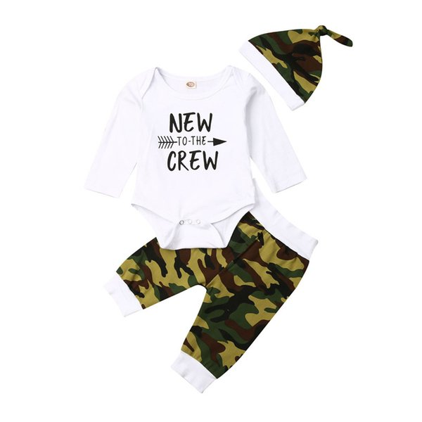 newborn infant toddelr baby boy clothes set autumn spring long sleeve white letter bodysuit camo pants hat outfits 3pcs 0-24m