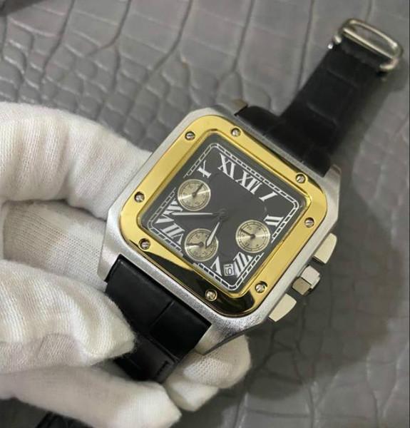 Горячие продажи роскошные высококачественные мужские часы Кожаный ремешок кварцевый механизм Мода Спорт Бизнес мужские дизайнерские мужские часы Бесплатная доставка фото