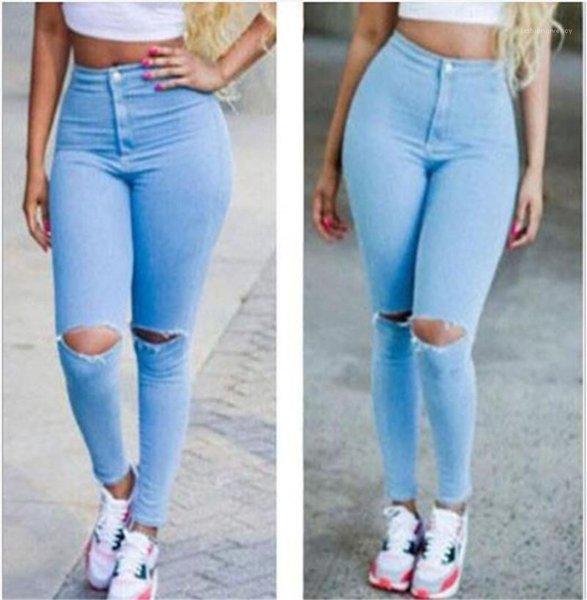 Waist Blue Black White Fashion Pencil Pants OL Style Female Denim Pants Hole Skinny Summer Spring Womens Designer Jeans High