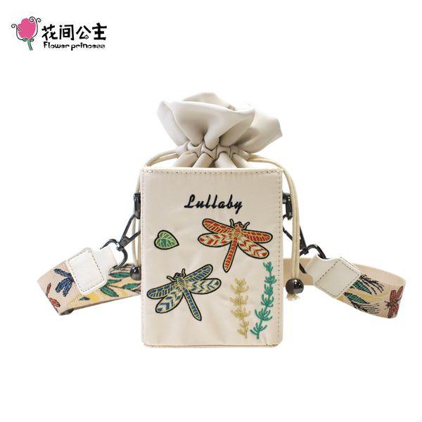 flower princess women crossbody bag embroidery wide strap girl handbags cute summer small shoulder bag female nylon purse (549660718) photo