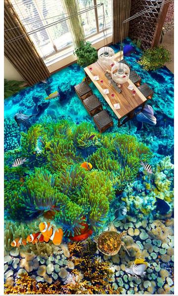 3D полы из ПВХ водонепроницаемый самоклеющиеся 3d настенные фрески обои подводный мир тропическая рыба ванная комната спальня 3D напольная плитка