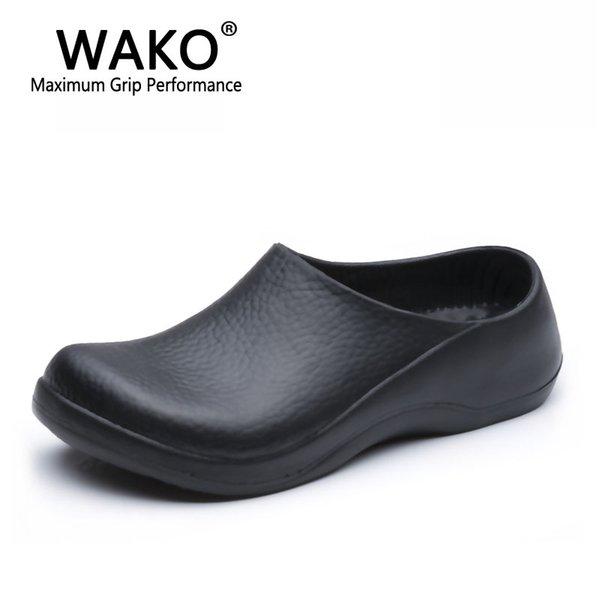 WAKO 9051 Шеф-повар Обувь для мужчин Черные сандалии для кухни Ресторан Рабочая обувь