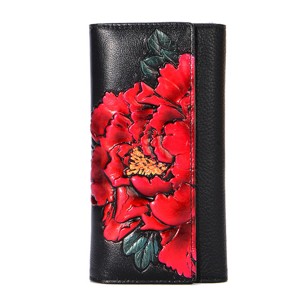 genuine leather long wallet women vintage floral purse peony flower hands wallets female luxury evening clutch purses wholesale (441078767) photo