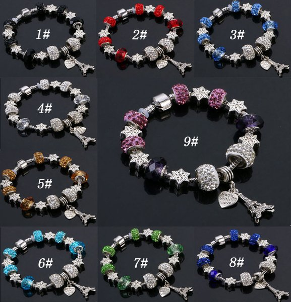 9 Colors Fashion Murano Glass&Crystal European Charm Beads Fits Charm bracelets Pandora Style Bracelet High quality jewelry
