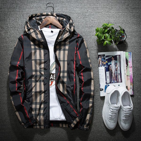 2019 new fa hion jacket ca ual windbreaker long leeve plu ize m 5xl men jacket zipper pocket men hoodie coat plaid jacket