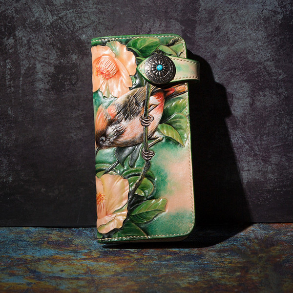 high-end handmade wallets carving flower-bird love purses men long clutch vegetable tanned leather wallet card holder (479160332) photo
