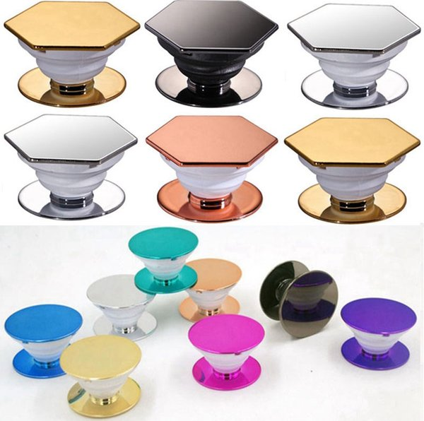 2  tyle  plating cell phone holder hexagon round grip phone  tand expandable phone holder bracket 3m glue opp bag packaging dhl