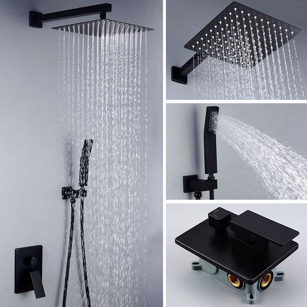 Матовый черный ванная комната квадратная ванна душ набор настенный / потолочный тропический душ набор качество латунь смеситель кран тропический душ фото