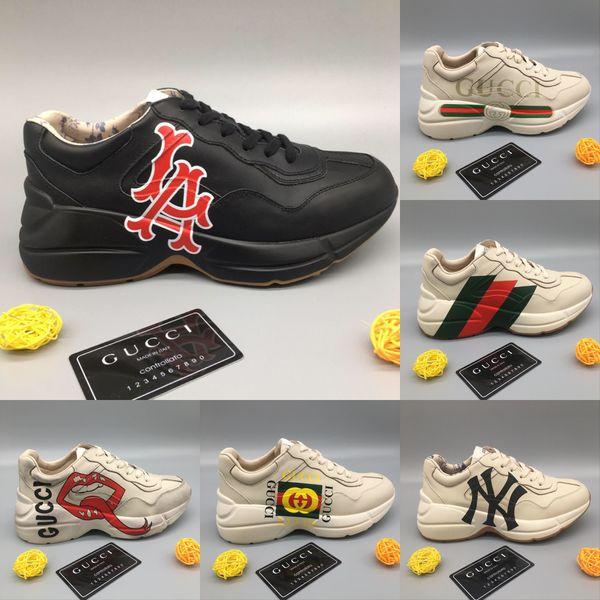 Rhyton Кожаные Кроссовки с NY LA Luxury Дизайнерские Мужские Rhyton Повседневная Обувь Мода