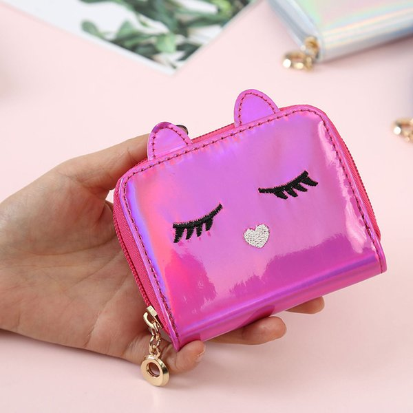 holographic purse animal kitten face short wallet small coin purse for women girls hsj88 (512877618) photo