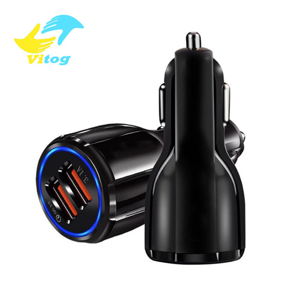 Quick charge 3 0 car charger portable 5v 3 1a fa t charging gp dual u b car charger for iphone am ung ipad double u b charger