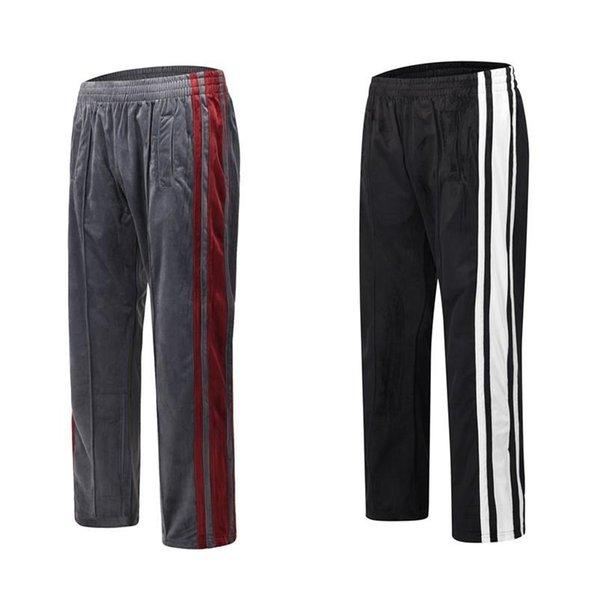 20SS High Street Side Zipper Контрастные цвета Лоскутные Брюки Велюр свободные прямые спортивные повседневные брюки Мужчины Женщины Длинные брюки HFXHKZ027 фото