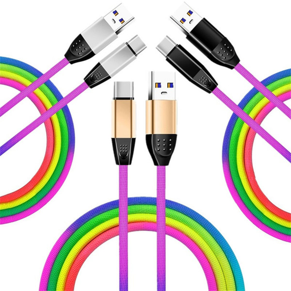Type c micro u b cable 30cm 1m 3ft durable 2a quick charging rainbow alloy u b cable for am ung 8 9 10 note 8 9 htc lg android phone
