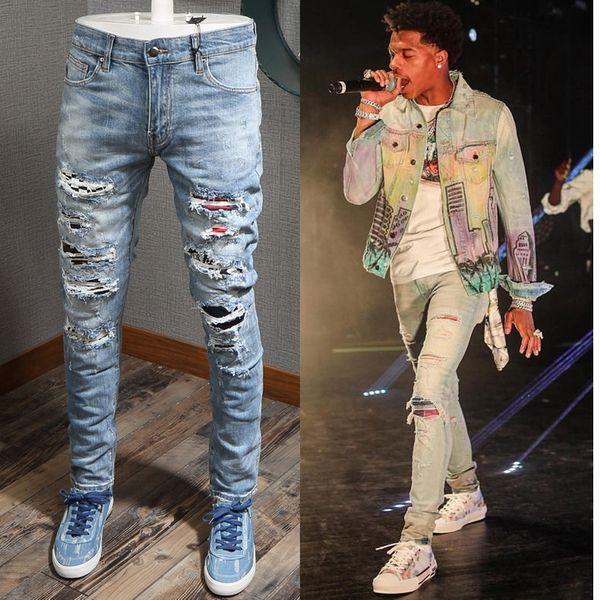 Patches Detail Biker Fit Jeans Men Slim Fit Motorcycle For Mens Vintage Distressed Denim Jean Pants