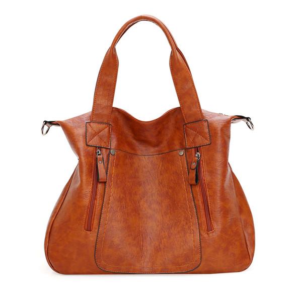 new women real leather shoulder bag female leisure handbag hobo crossbody messenger handle bags purse brown (510285206) photo