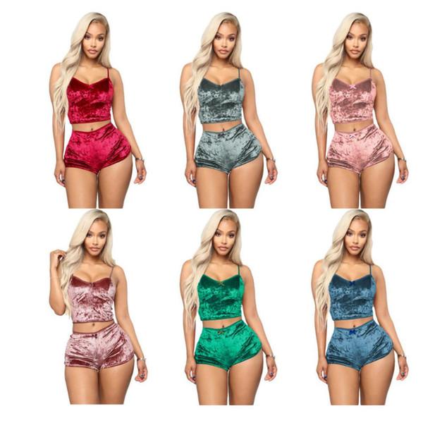 8 colors Women Sexy Velvet Pajama Sets Ladies Lace V-Neck Crop Tops Shorts 2Pcs Sleepwear Lingerie Pajamas Sets