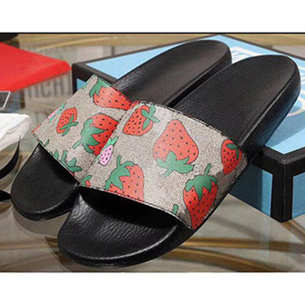 2019 дизайнер резиновые горки сандалии цветет клубника зеленый красный белый веб м фото