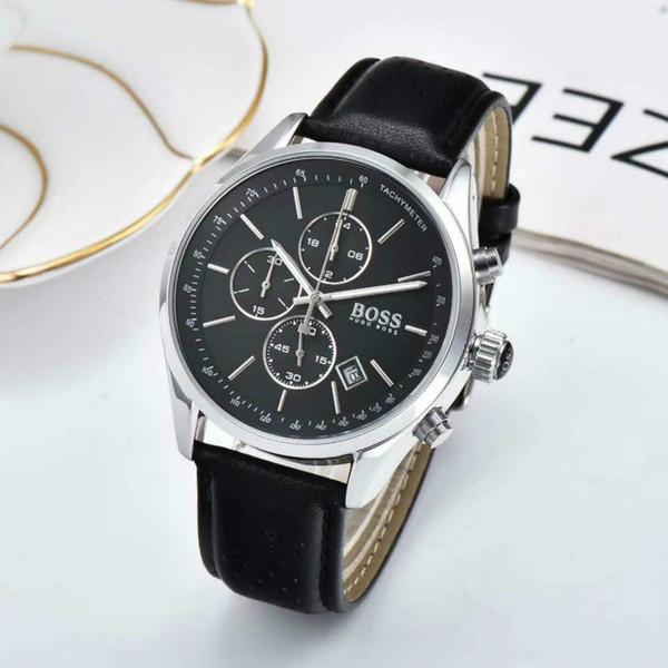 Все циферблате Работа Boss Роскошные Мужчины Часы Montre Homme Мода кожа кварцевые часы R фото