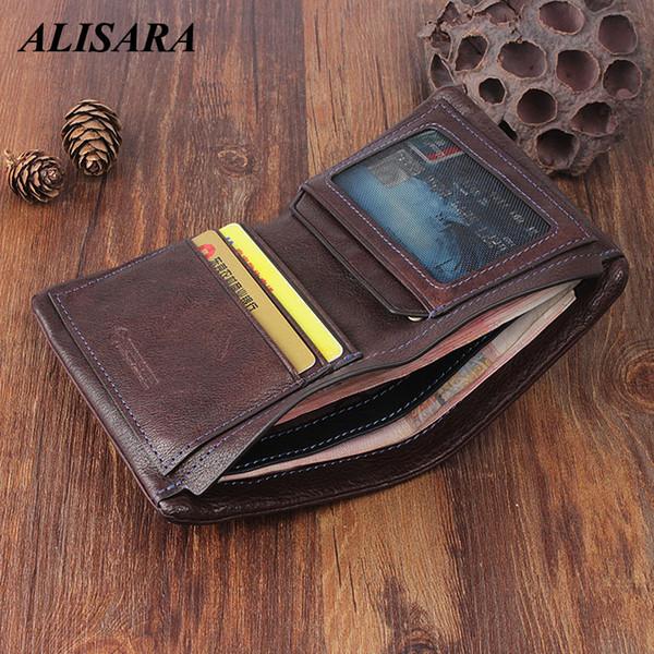 alisara men wallet genuine leather vertical vintage male short bifold clutch wallets slim handmade small women purses money bag (513249864) photo