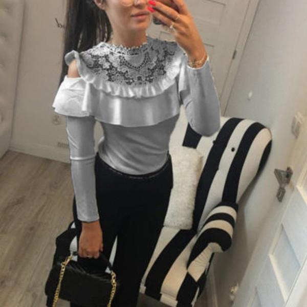Кружева пэчворк с длинным рукавом блузка топ женская 2019 корейский сплошной цвет тонкий блузка O образным вырезом сексуальные оборки блузка рубашки фото