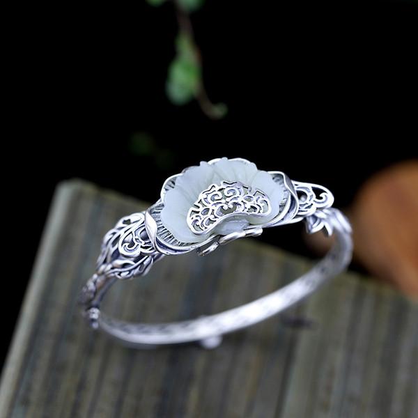 garanti_925_sterling_silver_women_cuff_bracelets_bangle_big_jade_fleurs_gravées_antique_rétro_bracelets_ethniques