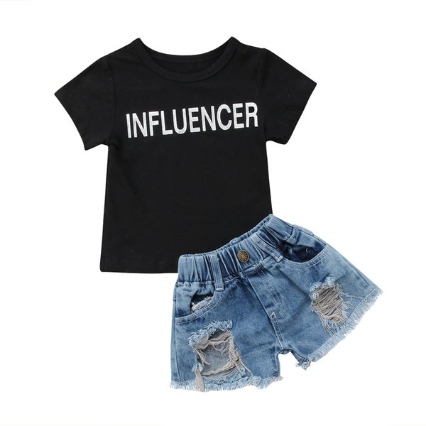 2020 new fashion canis 2pcs kids baby toddler girl clothes t-shirt  jeans leggings outfits summer simple lovely stylish ch