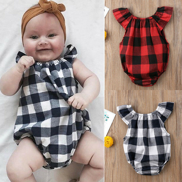 newborn baby girls summer bodysuit new bebes fly-sleeve jumpsuit sunsuit gray/red checked baby girl clothes outfit