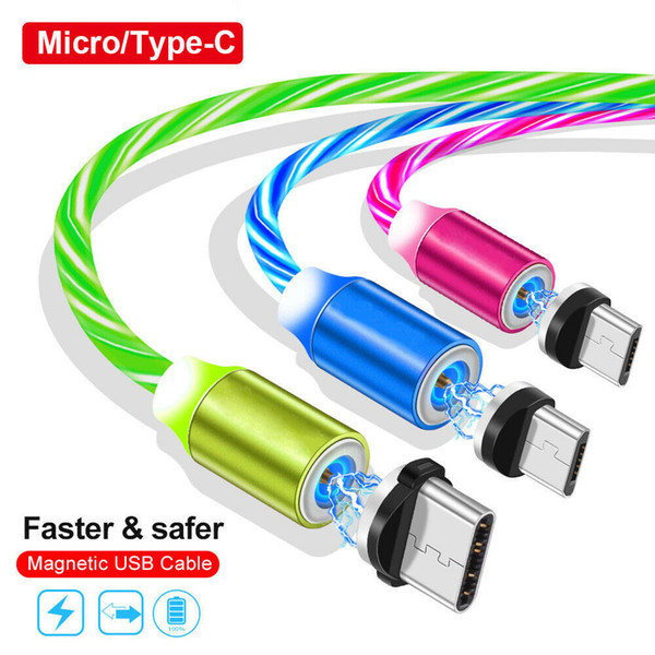 Magnetic type c micro u b cable quick charger cable flowing led light fa t charging cable  for  am ung  8  9  10 note 9 10 htc android phone