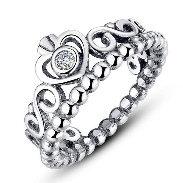 Женщины Кольца серебряные короны серебряные ювелирные изделия Серебряные приспосабливает для Pandora Style для дам девушки Brand Rings Бесплатная доставка фото