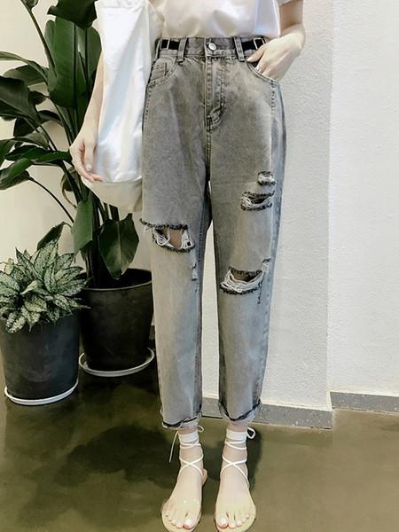 JUJULAND woman jeans dark gray hole jeans Stretch high-waisted loose woman harem ankle-length pants 1082