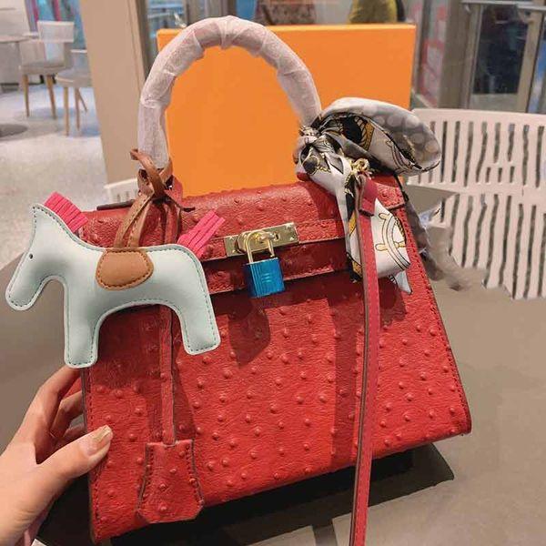 designer luxury handbag purse kaly ostrich pattern ladies purse bag women fashion totes 25cm handbag purse (504634174) photo