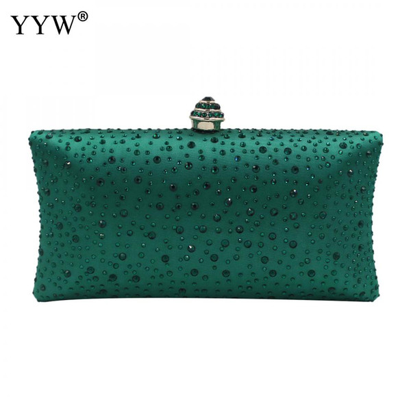 zinc alloy clutch bag 2018 new fashion girl fashion evening clutches with rhinestone party clutch purse green sliver rivet bag (502918604) photo