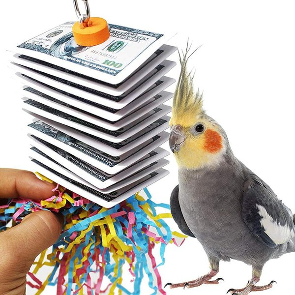 birds poker shredded paper hanging cage decor chewing play toy (502019309) photo