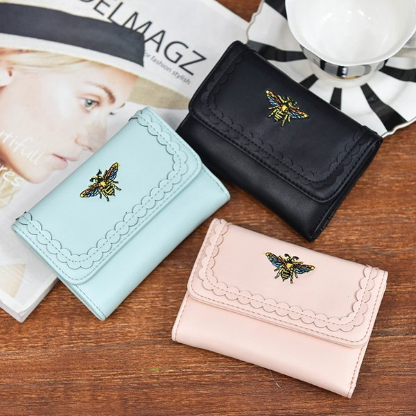 womens wallets and purses pu leather women's short wallets small wallet for girls bee purses luxury designer women (481487984) photo