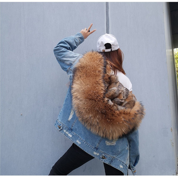 INS fasion Holes jeans Jacket for Ladies Real rabbit furs Liner Detachable and Large Raccoon Fur Collar