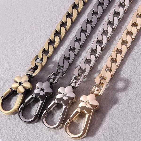diy metal replacement chain shoulder bag straps brushed bronze handbag purse handles flat chain bag belt (527238765) photo