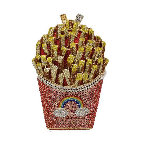 french fries rainbow clutch bag minaudiere women crystal chips evening bag diamond wedding handbag bridal purse (516117777) photo