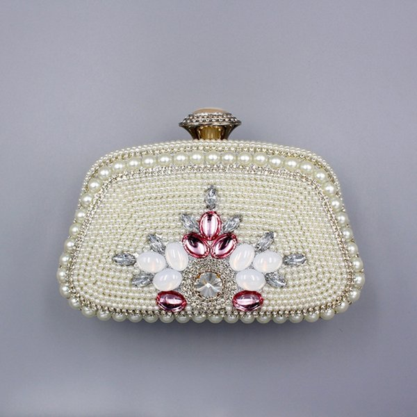 ladies solid color pearl beaded evening bag for party female flower multifunctional lock small bag for wedding girl clutch purse (520388807) photo