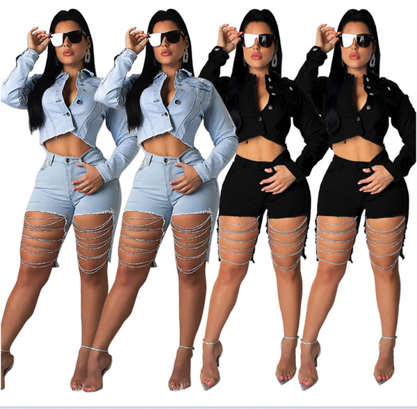 Women's Jeans Sexy Club fashion chain Pocket Hole Zipper Knee Length Skinny bodycon leggings Zipper Fly Denim summer clothes Plus size 322