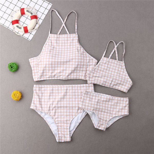mother daughter swimsuit plaid bandage mommy and me swimwear bikini set family matching look mom and daughter girls bathing suit