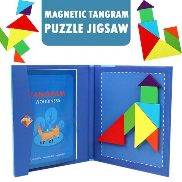 Магнитная головоломка 3D головоломка Tangram игры Монтессори обучения Развивающие рисования Настольные игры подарок игрушки для детей Brain Tease фото